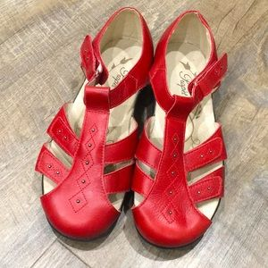 Propet red leather mary jane sandals like new